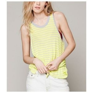 WE THE FREE Yellow and Grey Striped Tank Top M